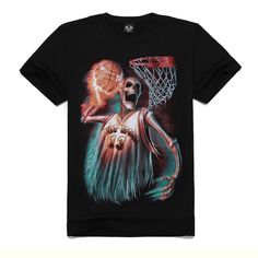 a98775ef6 US $11.98 |Skeleton Basketball player HOT SPORT Men's Black T shirt Short  Sleev COLL.Rock and roll.-in T-Shirts from Men's Clothing on Aliexpress.com  ...