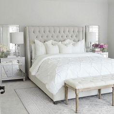 Neutral Bedroom White Bedroom Tufted Bed Mirrored