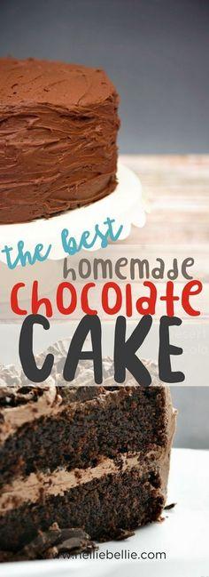 best homemade chocolate cake recipe from scratch via @huttonjanel