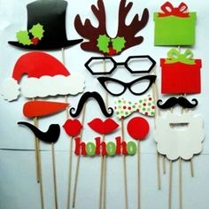 Venue Decorations Set Christmas Photo Booth Props Hats&Glasses On A Stick Diy Wedding Party & Garden Christmas Photo Booth Props, Christmas Party Games, Noel Christmas, Xmas Party, Christmas Activities, Family Christmas, Christmas Photos, Holiday Fun, Christmas Crafts