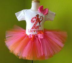 #MC Pink n Orange Dr. Seuss The Foot Birthday Tutu Set by PoshBabyStore.com
