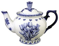 Delft style blue and white teapot, decorated with blue tulips, with tulip flower as knob, ceramic Blue And White China, Blue China, Love Blue, Delft, Tea Cup Saucer, Tea Cups, Blue Dishes, White Dishes, Teapots And Cups