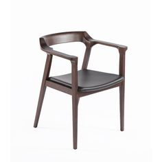 The Djursholm Arm Chair - Black Leather and Dark Walnut Finish http://www.franceandson.com/the-djursholm-arm-chair-black-leather-and-dark-walnut-finish-5586.html