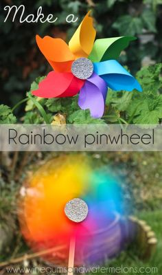 DIY Pinwheel : DIY rainbow pinwheel
