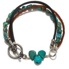 Black Leather, Turquoise and Carnelian Bracelet (105 AUD) ❤ liked on Polyvore