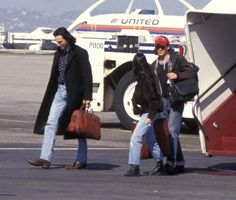 Actor Daniel DayLewis actress Winona Ryder and actor Johnny Depp on February 22 1992 arrive at the Los Angeles International Airport in Los Angeles...