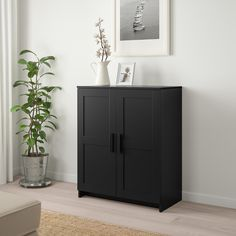 IKEA - BRIMNES, Cabinet with doors, black, Adjustable shelves, so you can customize your storage as needed. Coordinates with other furniture in the BRIMNES series. Ikea Cabinets, Black Cabinets, Storage Cabinets, Tall Cabinet Storage, Locker Storage, Kitchen Storage, Painted Drawers, Painted Doors, Sideboard Cabinet