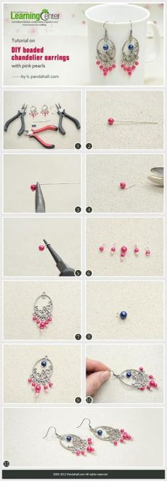 Tutorial on DIY Beaded Chandelier Earrings with Pink Pearls by Jersica