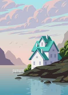 'Lake House' by Andrey Sharonov | Lake and House Vector illustration Adobe Illustrator