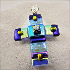 Jacaranda Lilac Cross Pendant by HanaSakuraDesigns on Etsy