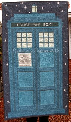 My latest TARDIS quilt is finished! The weather has been quite gloomy and soggy lately, so I'm afraid these photos are not the best. Japanese Quilt Patterns, Japanese Quilts, Quilt Patterns Free, Sewing Patterns, Quilting Room, Machine Quilting, Tardis Quilt Pattern, Doctor Who Quilt, Disney Quilt