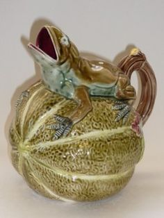 Moorland Antiques Majolica Forester Frog on Melon