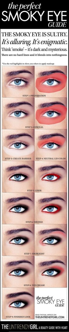 . Follow @katiekt8 for more   https://www.pinterest.com/katiekt8/boards/  Wouldn't consider the perfect smokey eye but for beginners this is the best way to go.