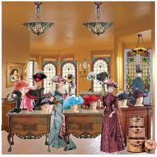 A Victorian millinery shop. Millinery Hats 3a8e508d5b4