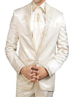 INMONARCH Mens Unique Look Wedding 5 pc Tuxedo Suit TX162 40S Cream - Click image twice for more info - See a larger selection of wedding tuxedo at http://zweddingsupply.com/product-category/tuxedo/ - groom,wedding, wedding style, wedding fashion, wedding ideas.