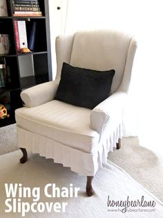 How to Make a Wing Chair Slipcover at www.honeybearlane.com #slipcover #sewing