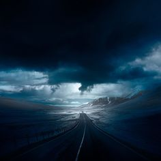 Road - From the series Blue Iceland by Andy Lee (andylee.co) - Stunning Photos Of Icelandic Landscapes Taken With Infrared Lens