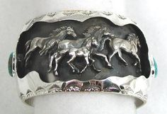 Hand made Native American Indian Jewelry; Navajo Sterling Silver horse bracelet