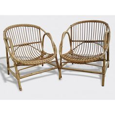 Vintage bamboo rattan armchair  1950  France by PopVintages