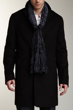 John Varvatos Collection Pigment Dyed Plaid Scarf