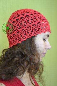 Crochet beanie. Red crochet women's beanie. Summer crochet  beanie. Lacy beanie. 100 % cotton beanie. Beanie hat. Yarn beanie. Beanie cap. - pinned by pin4etsy.com