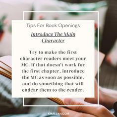 Introduce The Main Character. Taken from the #blog post, Tips For Book Openings. #wednesdaywisdom #writers #writingcommunity #writingtruths #writingtips #writersofinstagram #authorsofinstagram #writerscafe #writingproblems #writingadvice Writing Problems, Wednesday Wisdom, Writing Advice, Main Character, Sentences, Writers, Good Books, Something To Do, Author
