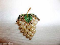 Vintage TRIFARI Grape Brooch Pearls And Enamel Simply Delicious