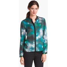 """The Chelsea blouse in """"Lady Luck"""" From Elie Tahari's Fall 2013 line. Never worn, only tried on. Made of 100% silk with 100% leather trim. The second picture shows the back detail. True to size. Elie Tahari Tops Blouses"""