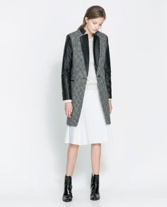fitted wool with leather details jacket that goes perfect with midi skirts,plaid dresses,leather pants or leggings. Jeans and Boots are also perfect.$159.00
