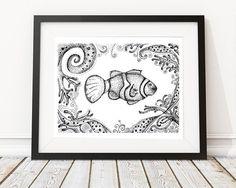 Clownfish Illustration, Fish Drawing, Pen and ink fish, stipple artwork, fish print, fish printable art, adult coloring fish, saltwater fish