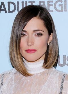 Rose Byrne with her lob styled sleek and straight with a soft smokey eye