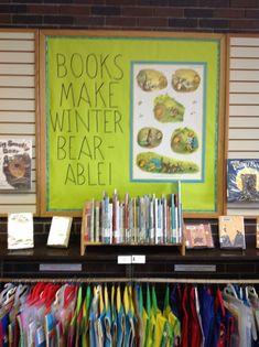 Bear book display, because books make winter bear-able at CFPL!