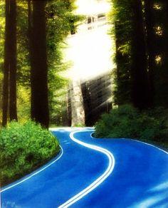 Quadro Pintura by Jorge Marcovich Oil Painting Estrada Floresta Bosque Road Forest Grove