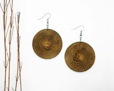 Disk Wood Earring From Local Greek Wood, Dangle & Drop Earrings Wood Earrings, Chandelier Earrings, Handmade Chandelier, Circle Shape, Hanging Chair, Dangles, Greek, Shapes, Earrings Handmade