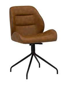 Amazon.com: Calico Designs Devonport Swivel Armless, No Casters, Home Office Accent Chair in Black Metal 4-Star Base/Anitque Spotted Copper Faux Leather with Stitch Detail: Kitchen & Dining