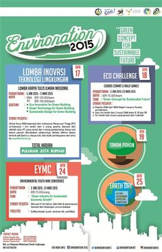 "Environation 2015 ""Green Concept for Sustainable Future""  http://eventsurabaya.net/environation-2015/"