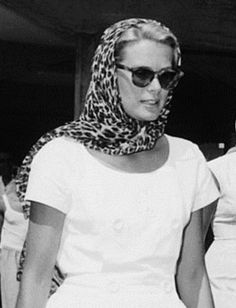 Grace Kelly at Olympic Games in Rome, 1960  |  She wears a scarf well!  ~