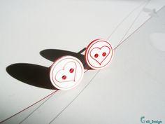 Ohrstecker - Ohrstecker Knopf #265 Herz rot weiß - ein Designerstück von…
