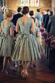 Ditsy floral bridesmaids dresses. also love the different coloured shoes