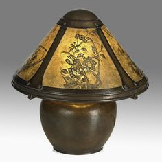 DIRK VAN ERP  Rare and early boudoir lamp with decorated mica panels, San Francisco, 1910s