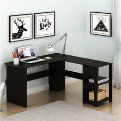 Wooden Corner Desk, Corner Desk With Hutch, Computer Desk With Shelves, Bookshelf Desk, Wood Desk, Black Corner Desk, L Desk, Bookshelf Plans, Corner Space
