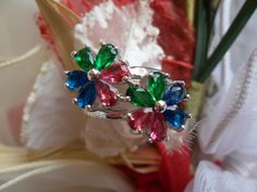 http://rubies.work/0025-emerald-earrings/ Vintage sterling silver ring 925 natural gemstones ring red ruby emerald ring size 5,5 valentines day gift mother day gift for her romantic
