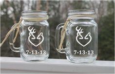 wedding mason jars, Etched Mason Jar, Set of engraved mason jar, , Deer… Etched Mason Jars, Mason Jar Mugs, Personalized Mason Jars, Etched Glassware, Wedding Jars, Wedding Glasses, Diy Wedding, Wedding Gifts, Camo Wedding