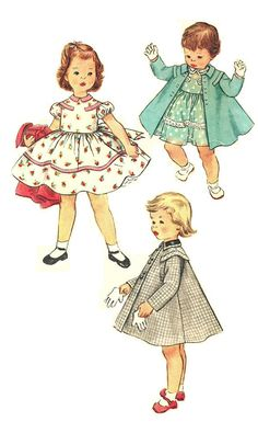 Simplicity 1021 Vintage 50s Adorable Toddler Girl's One-Piece Dress and Coat with Contrast Collar Sewing Pattern Size 2