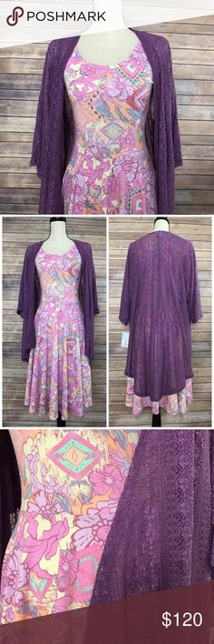 XS Nicole and S Lace Lindsay Outfit This floral print Nicole and purple lace Lindsay are a beautiful, feminine combo. The Lindsay stretches and is gorgeous in person. LuLaRoe Dresses