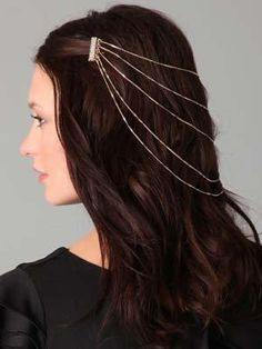 Hair Ideas: Our Favorite Holiday Hair Accessories Part princess, part modern; Holiday Hairstyles, Trendy Hairstyles, Wedding Hairstyles, Brunette Beauty, Hair Beauty, Renaissance Hairstyles, Hair Chains, Fantasy Hair, Fantasy Jewelry