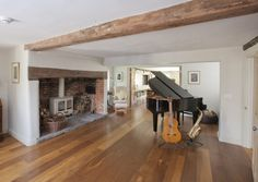 Terrific Snap Shots Brick Fireplace with oak beam Strategies The music room features oak boards, exposed beams and an inglenook fireplace with original bread ov Oak Furniture Living Room, Inglenook Fireplace, Fireplace Design, Snug Room, Exposed Brick Fireplaces, Beams Living Room, Farmhouse Fireplace, Brick Fireplace, Fireplace