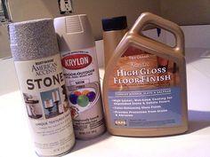 spray painted bathroom counter | stone