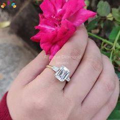 Emerald and Tapered Baguette Three Stone Ring, TW Colorless Moissanite Ring, Engagement Ring, W Three Stone Engagement Rings, Three Stone Rings, Ring Engagement, Emerald Cut Moissanite, Moissanite Wedding Rings, Baguette Diamond Rings, Baguette Ring, Bridal Jewelry Sets, Wedding Jewelry