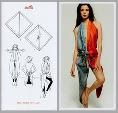 Musing Mends The Soul: Scarf tying - Hermes style, foulard carré Hermes Ways To Tie Scarves, Ways To Wear A Scarf, How To Wear Scarves, Silk Scarves, Scarf Top, Scarf Dress, Diy Dress, Diy Fashion, Ideias Fashion